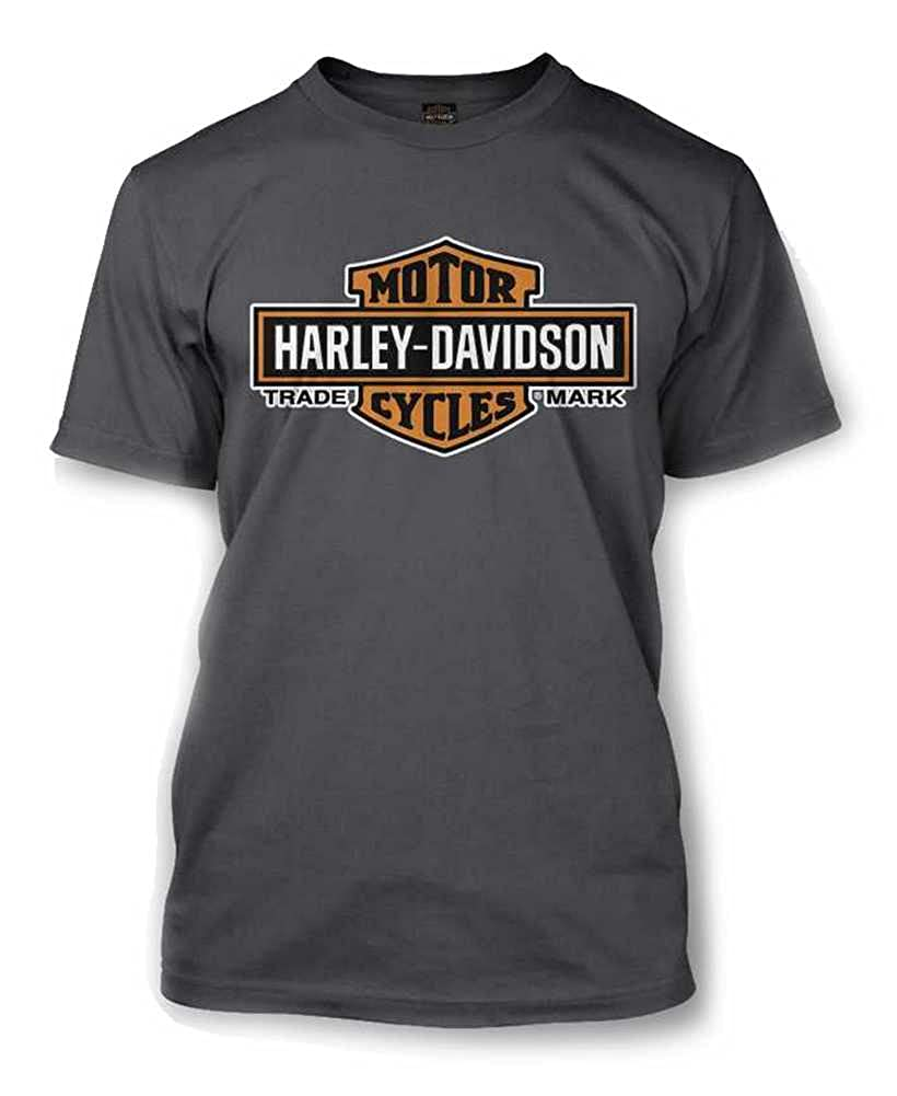 HARLEY-DAVIDSON Mens Elongated Orange Bar /& Shield Charcoal T-Shirt 30291961