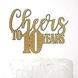 NANASUKO 10th Anniversary Cake Topper - Cheers to 10 years - Premium quality Made in USA, Gold Glitter