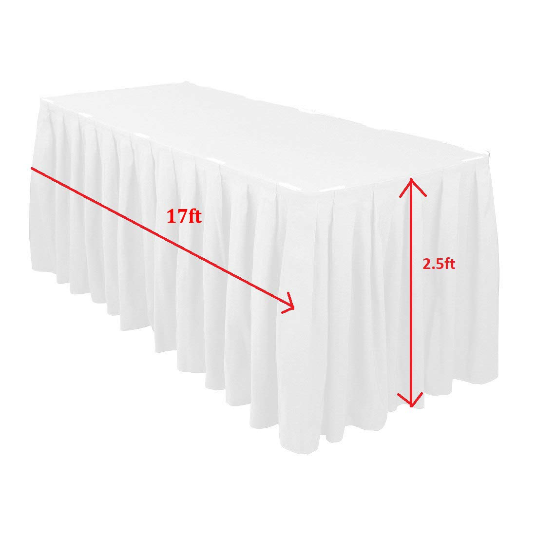 Catering Event Decoration Birthday Parties Banquet Tablewear 1 piece Trimming Shop Black 14 Feet Pleated Rectangle Polyester Table Skirt for Wedding
