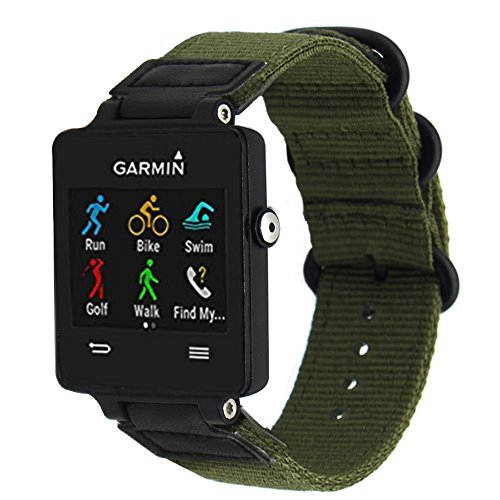 ViCRiOR For Garmin Vivoactive Watch Band, Premium Woven Nylon Bands Adjustable Replacement Sport Strap with Metal Buckle for Garmin Vivoactive/Vivoactive Acetate Sports, Army Green