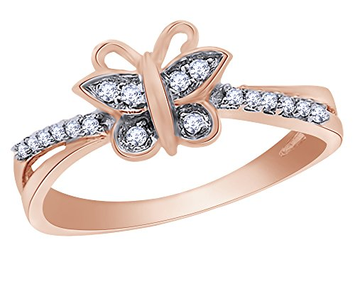 Round Cut Natural Diamond Accent Butterfly Fashion Ring in 10K Solid - Ring Butterfly 10k