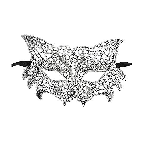 Yu2d  Masquerade Lace Mask Catwoman Halloween Cutout Prom Party Mask Accessories SL(Silver)
