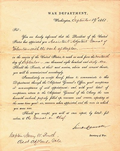 Simon Cameron - Military Appointment Signed 09/19/1861 ()