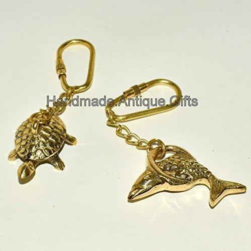 Antique Brass Vintage Animal Tortoise Turtle Art Décor Key Ring Key Chain RTDC