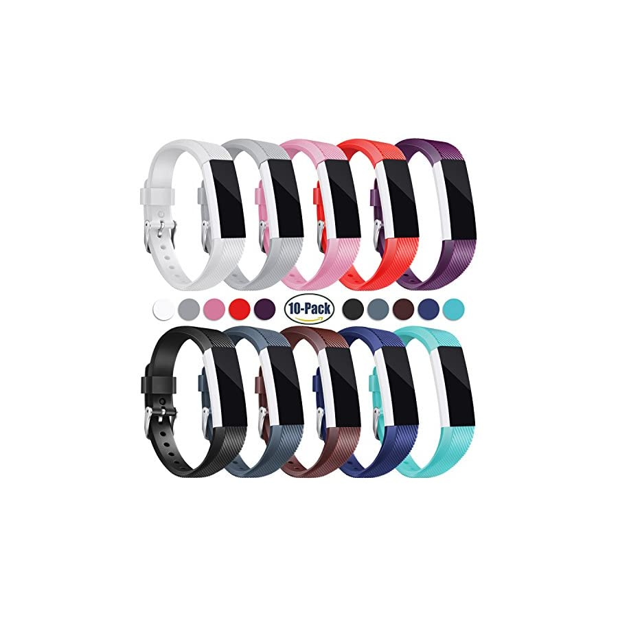 Konikit For Fitbit Alta HR and Alta Bands, Soft Adjustable Replacement Band Accessory with Secure Watch Clasps for Fitbit Alta and Alta HR, Pack of 10