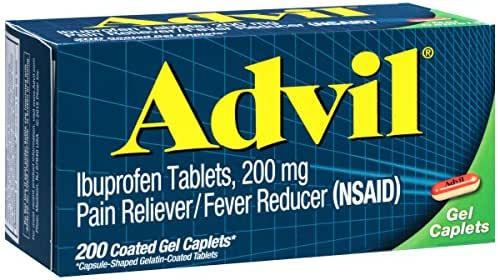 Advil (200 Count) Pain Reliever/Fever Reducer Coated Gel Caplet, 200mg Ibuprofen, Temporary Pain Relief
