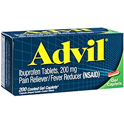 Advil Pain Reliever / Fever Reducer Coated Gel Caplet, 200mg Ibuprofen, Temporary Pain Relief (200 Count)