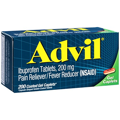 Advil (200Count) Pain Reliever/Fever Reducer Coated Gel Caplet, 200mg Ibuprofen, Temporary Pain - Advil Tablets
