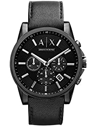 3455d59fb5db5 Armani Exchange Men s AX2098 Black Leather Watch