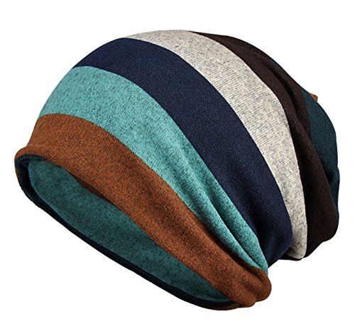 Ponytail Mens Womens Slouchy Rasta Knitted Hat Circle Loop Scarfs Wrap for Cold Weather Outdoor Activities Keep Warm Gear Cap Stripes Pirates Fleece Birthday Gifts for Boyfriend Girlfriend Father Blue (Circle Womens Cap)