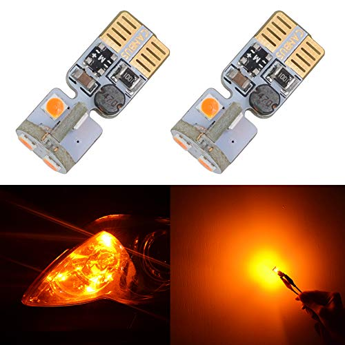 194 LED Bulb Amber T10 168 2825 W5W LED Bulb Canbus Error Free for 12V Car Dome Side Marker License Plate Wedge Interior Lights(Pack of 2)