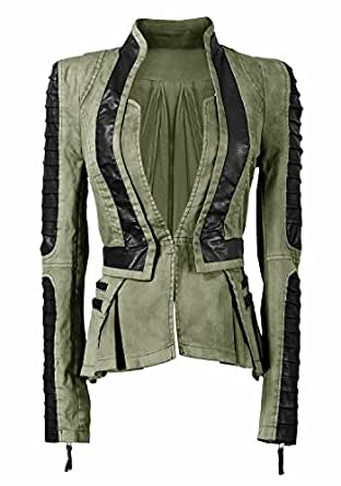 Lookbook Store® Women's Army Green Denim PU Leather Zip Sleeves Pleated Tuxedo Blazer Jacket US 2