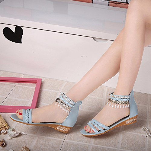Zapatos De Mujer---Summer-Thick Flat-Fringed Sandalias De Fondo Perla Sandalias Romaní Blue