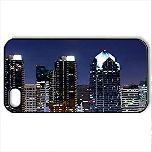 San Diego - Case Cover for iPhone 4 and 4s (Skyscrapers Series, Watercolor style, Black)