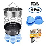 Weletric Instant Pot Accessories Set with Steamer Basket/Egg Steamer Rack/Egg Bites Molds/Non-stick Springform Pan/Silicone Cooking Mitts/Recipes Ebook, 6 Pcs-Fits 5,6,8Qt Instant pot Pressure Cooker