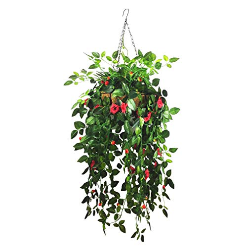 (Mynse Hanging Silk Ivy Plants Vines for Home Wedding Balcony Outdoor Decoration Hanging Basket Artificial Rose Flower Vines Red (Big Basket and Artificial Rose Bouquet))