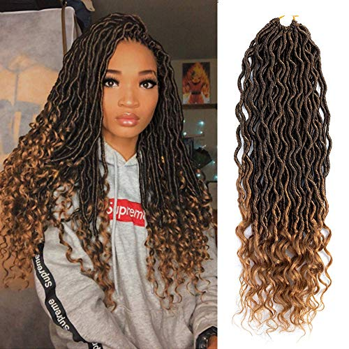 - VRUnique 6 Packs Goddess Locs Faux Locs Crochet Hair Wavy Faux Locs With Curly Ends Twist Goddess Faux Locs Soft Synthetic Braiding Hair Extension (14 Inch, 1B-27#)