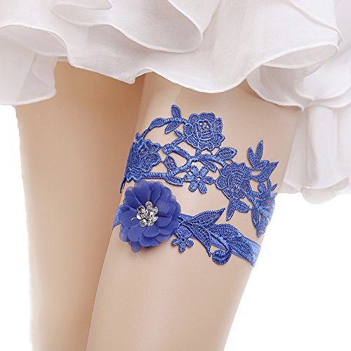 Advoult Blue Lace Garter with Rhinestones Wedding Garters for Bride by Advoult