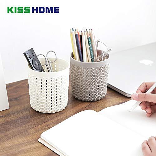 SeedWorld Storage Baskets - 1011cm Hollow Rattan Multifunctional Creative Mini Pen Holder for Students Women Cosmetic Storage Table Neatening Box Organizer 1 ()