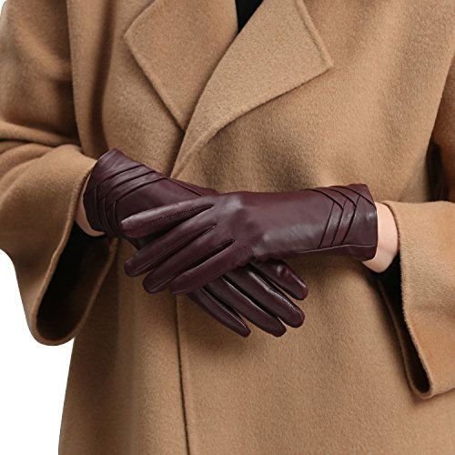 GSG Ladies Spain Genuine Nappa Leather Gloves Womens Driving Winter Gloves Winter Non Touchscreen Bordeaux