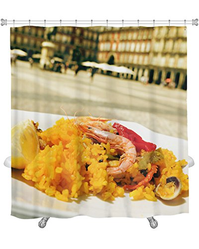 Gear New Close-Up of A Plate with Paella in Plaza Mayor in Madrid Spain Shower Curtain, 74'' X 71'' by Gear New