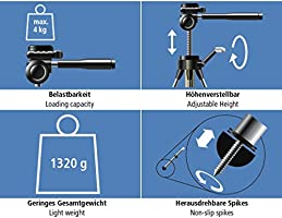 Hama Action 165 3d Camera Tripod Height 61 165 Cm Amazon Co Uk Camera Photo