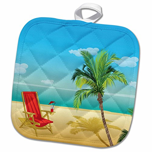 Palm Tree Pot Holder (3D Rose Scene with a Beach Chair and Palm Tree Pot Holder, 8 x 8