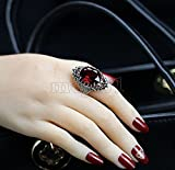 Fashion Women's 925 Sterling Silver Red Ruby & Marcasite Ring Jewelry Size 10