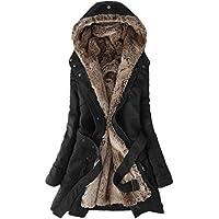 Saco de invierno con capucha grueso de longitud media, con lana de cordero, para mujer