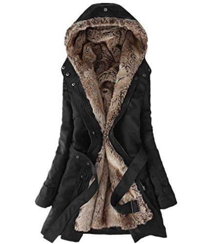 FENIKUSU Winter Coats for Women Thicken Lamb Wool Hooded Cotton Jackets (XL, Black) - Lamb Coat