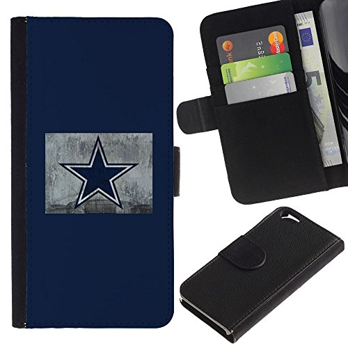 Funny Phone Case // Cuir Portefeuille Housse de protection Étui Leather Wallet Protective Case pour Apple Iphone 6 /Étoile bleu/