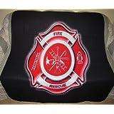 New Fireman Shield Fleece Throw Blanket Gift Firefighter Badge Fire Department