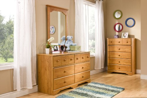 South Shore Little Treasures Collection 5-Drawer Dresser, Country Pine with Wooden Knobs
