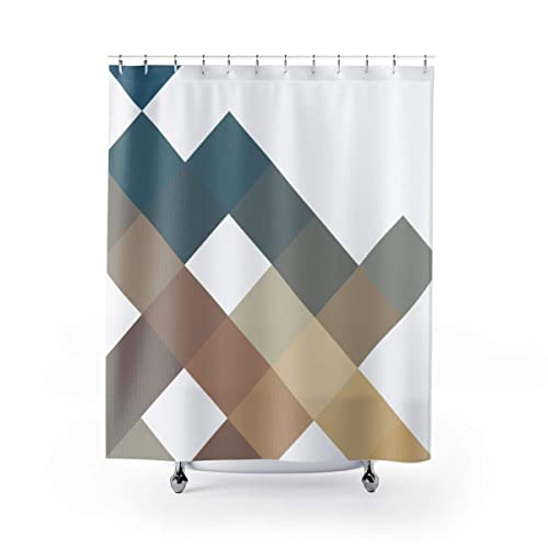 Geometric Pattern Shower Curtain Blue Grey And Brown Square Abstract