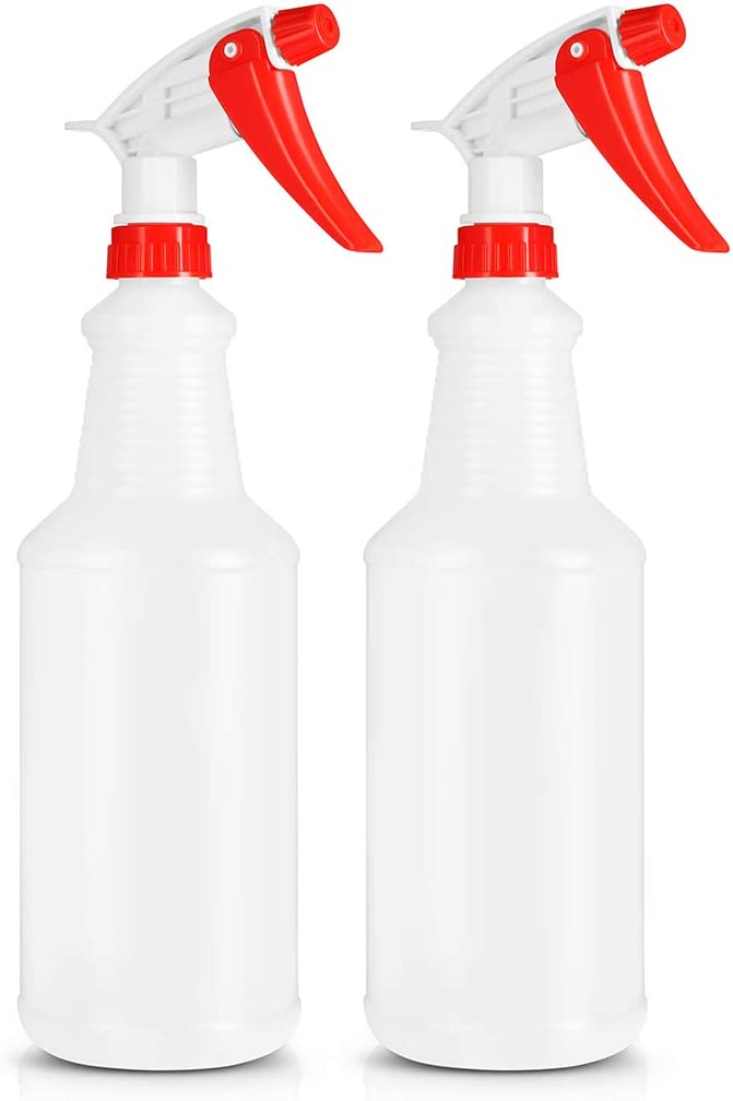BAR5F Empty Plastic Spray Bottle 32 Ounce, Professional Chemical Resistant with Red-White Sprayer for Chemical and Cleaning Solution, Heavy Duty, Adjustable Head Sprayer Fine to Stream (Pack of 2)