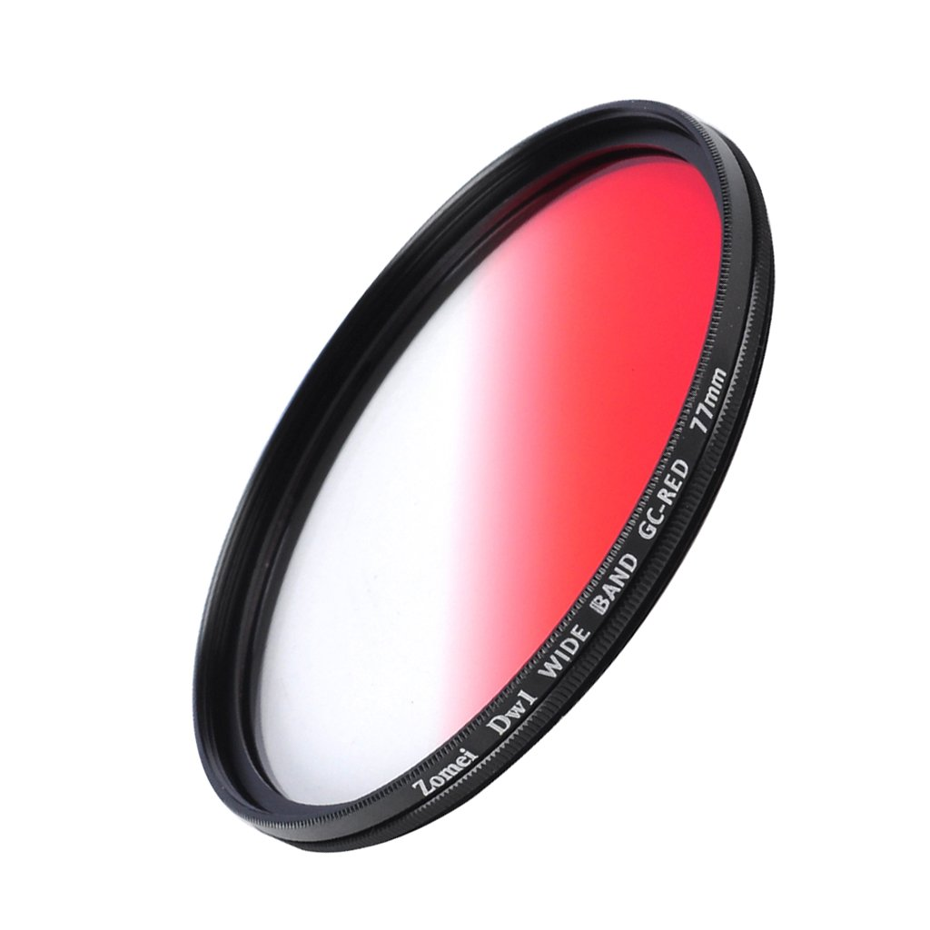 Jili Online Ultra Thin Graduated Neutral Density Red ND Filter 77mm for DSLR Camera