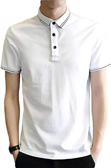 Camisa Tipo Polo de Manga Corta para Hombre, Informal, Ajustada ...