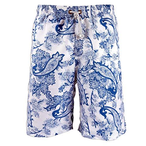 Holiday Porcelain - Swimwear Bermuda, Men's Board Shorts Big Pants Trunks Beach Holiday Party Swimsuits No Mesh Black Five (M Size, Porcelain-Blue)