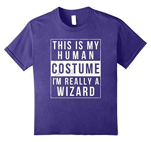 Kids I'm Really a Wizard Costume Halloween Shirt Easy Funny 8 Purple