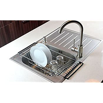 Over the sink kitchen dish drainer rack durable chrome plated steel black - Kitchen sink drying rack ...