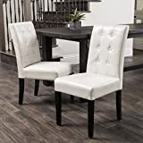 Cheap Set of 2 Dining Chairs with Espresso Colored Legs and Tufted Bonded Ivory Leather Backrest-Some Assembly Required
