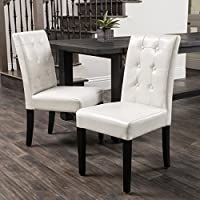 Set of 2 Dining Chairs with Espresso Colored Legs and Tufted Bonded Ivory Leather Backrest-Some Assembly Required