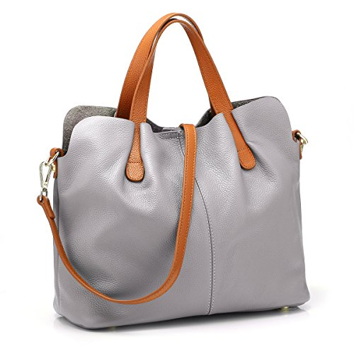 Zenpy Women Handbags Shoulder Bags Genuine Leather Tote Top Handle Bag Fashion Large Capacity Bags (Gray) by Zenpy