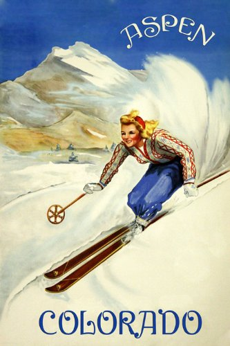 Blond Girl Ski Skiing In The Mountains of Aspen Colorado Winter Sport Travel Tourism Vintage Poster Repro 16