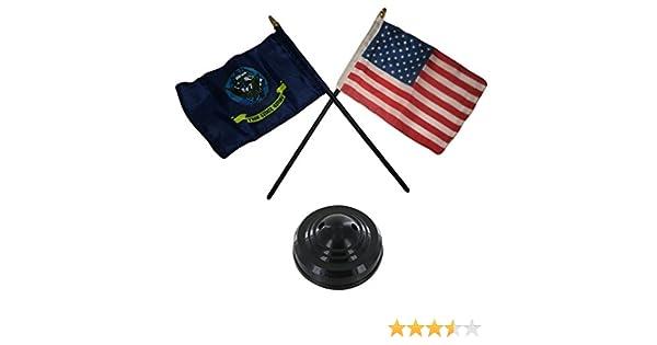 Miniature U.S. Navy Ship and American Bandera Set de sobremesa palo negro base: Amazon.es: Juguetes y juegos