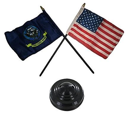 37bc0fa5959e Miniature U.S. Navy Ship and American Flag Desk Set Table Stick Black Base
