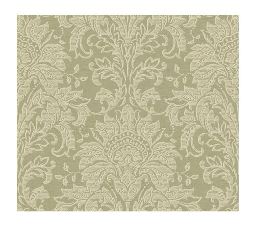 (York Wallcoverings GL4611SMP Brandywine Damask 8-Inch x 10-Inch Wallpaper Memo Sample, Spa Green/Bronze/Cool Cream )