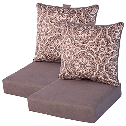 Comfort Classics Inc. Set of 2 Deep Seating Outdoor Dining Chair Cushions 24