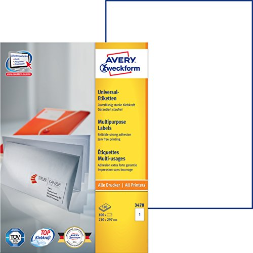 Avery Zweckform 3478 Universal-Etiketten (A4, Papier matt, 100 Etiketten, 210 x 297 mm) 100 Blatt weiß
