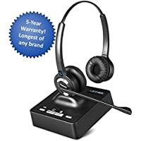 Leitner LH275 Noise-Canceling Dual-Ear Wireless Office Telephone Headset for Corded Office Phones with 5-Year Full-Replacement Warranty - Also works with PC/Mac